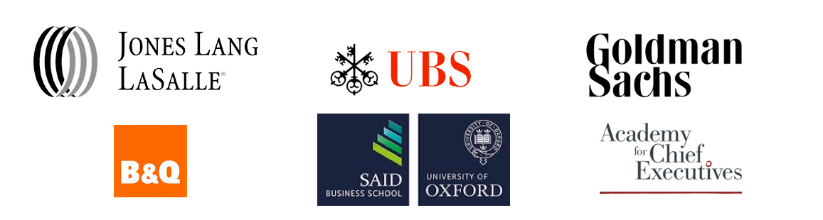 Corporate logos of some clients: Goldman Sachs, UBS, Jones Lang LaSalle, B&Q, Said Business School, Academy for Chief Executives